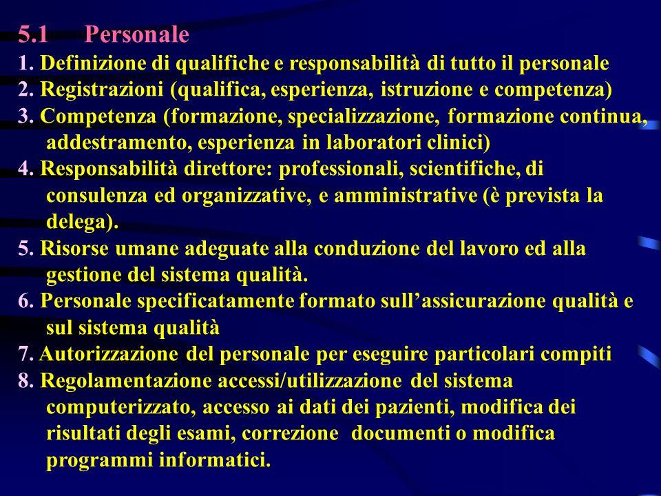 5.1Personale 1. Definizione di qualifiche e responsabilità di tutto il personale 2. Registrazioni (qualifica, esperienza, istruzione e competenza) 3.