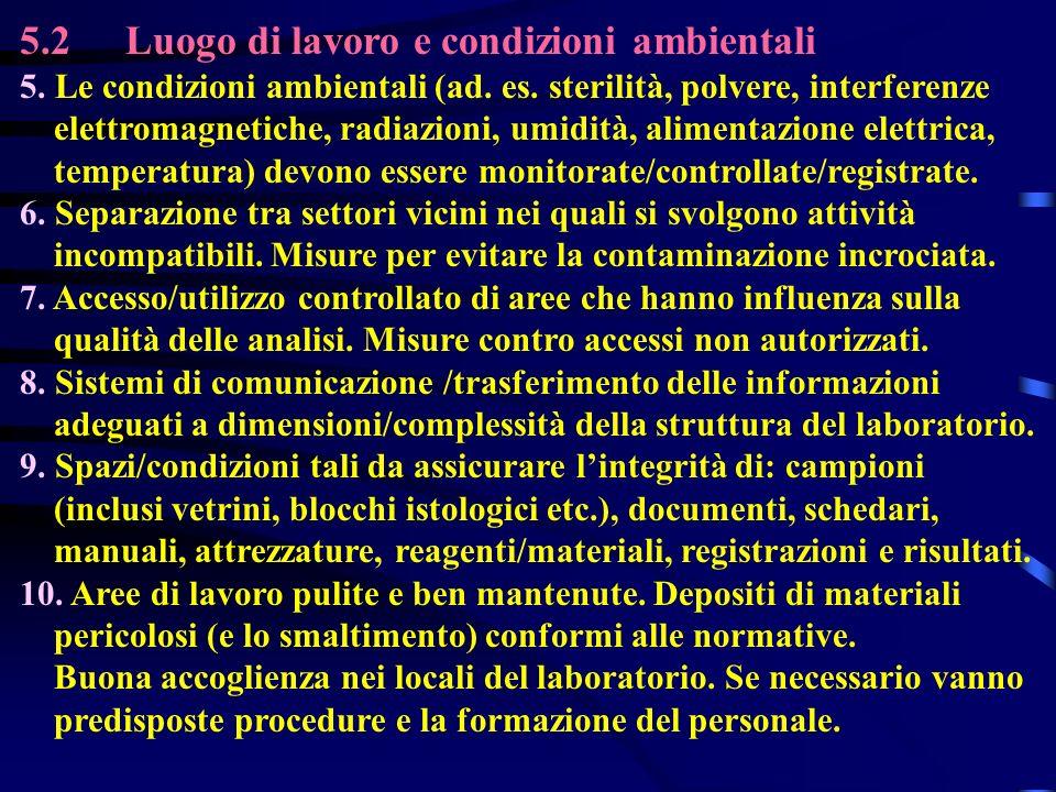 5.2Luogo di lavoro e condizioni ambientali 5. Le condizioni ambientali (ad. es. sterilità, polvere, interferenze elettromagnetiche, radiazioni, umidit