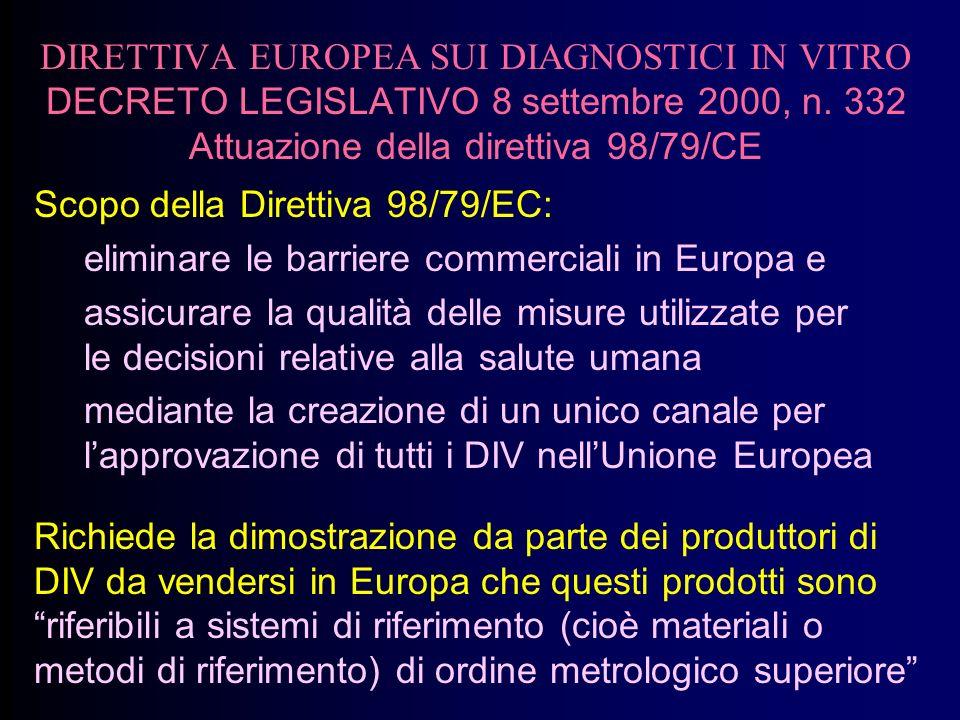 DIRETTIVA EUROPEA SUI DIAGNOSTICI IN VITRO DECRETO LEGISLATIVO 8 settembre 2000, n. 332 Attuazione della direttiva 98/79/CE Scopo della Direttiva 98/7