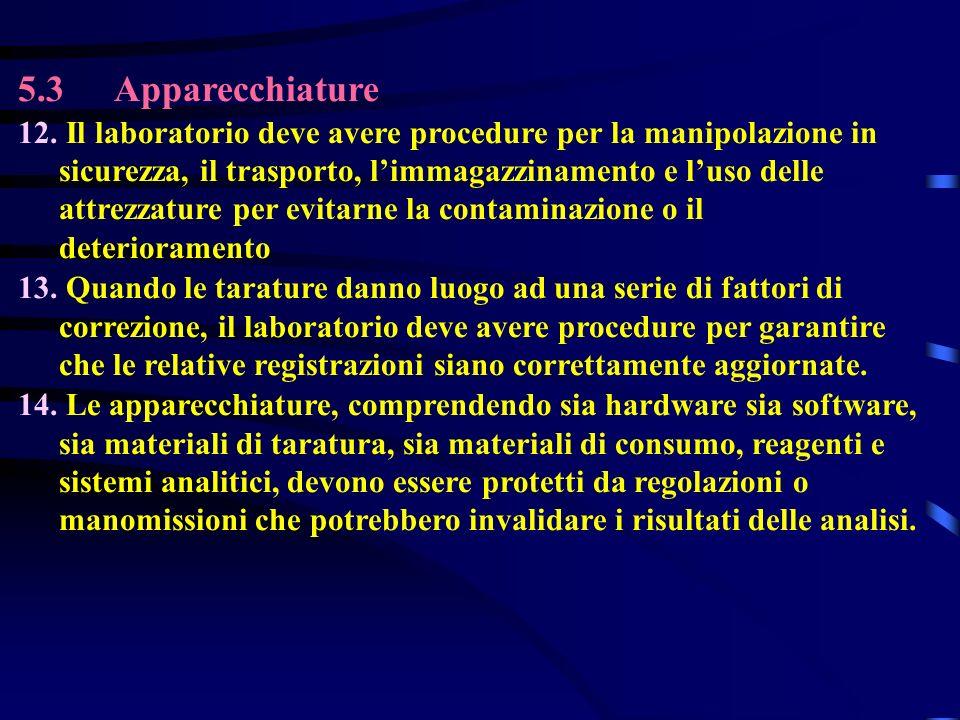 5.3Apparecchiature 12. Il laboratorio deve avere procedure per la manipolazione in sicurezza, il trasporto, limmagazzinamento e luso delle attrezzatur