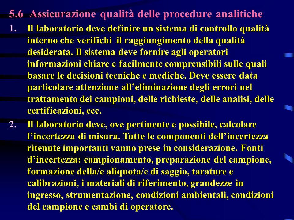 5.6 Assicurazione qualità delle procedure analitiche 1. Il laboratorio deve definire un sistema di controllo qualità interno che verifichi il raggiung
