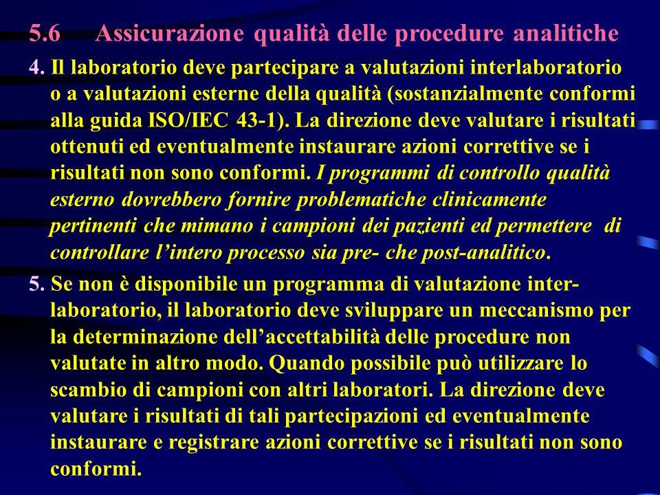 5.6Assicurazione qualità delle procedure analitiche 4. Il laboratorio deve partecipare a valutazioni interlaboratorio o a valutazioni esterne della qu