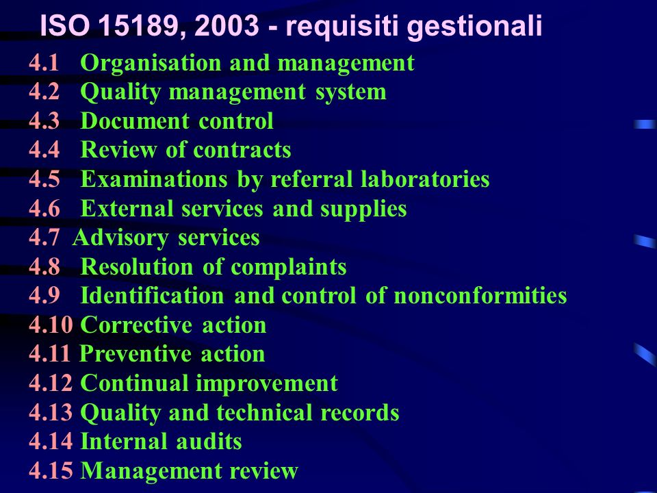 ISO 15189, 2003 - requisiti gestionali 4.1 Organisation and management 4.2 Quality management system 4.3 Document control 4.4 Review of contracts 4.5 Examinations by referral laboratories 4.6 External services and supplies 4.7 Advisory services 4.8 Resolution of complaints 4.9 Identification and control of nonconformities 4.10 Corrective action 4.11 Preventive action 4.12 Continual improvement 4.13 Quality and technical records 4.14 Internal audits 4.15 Management review