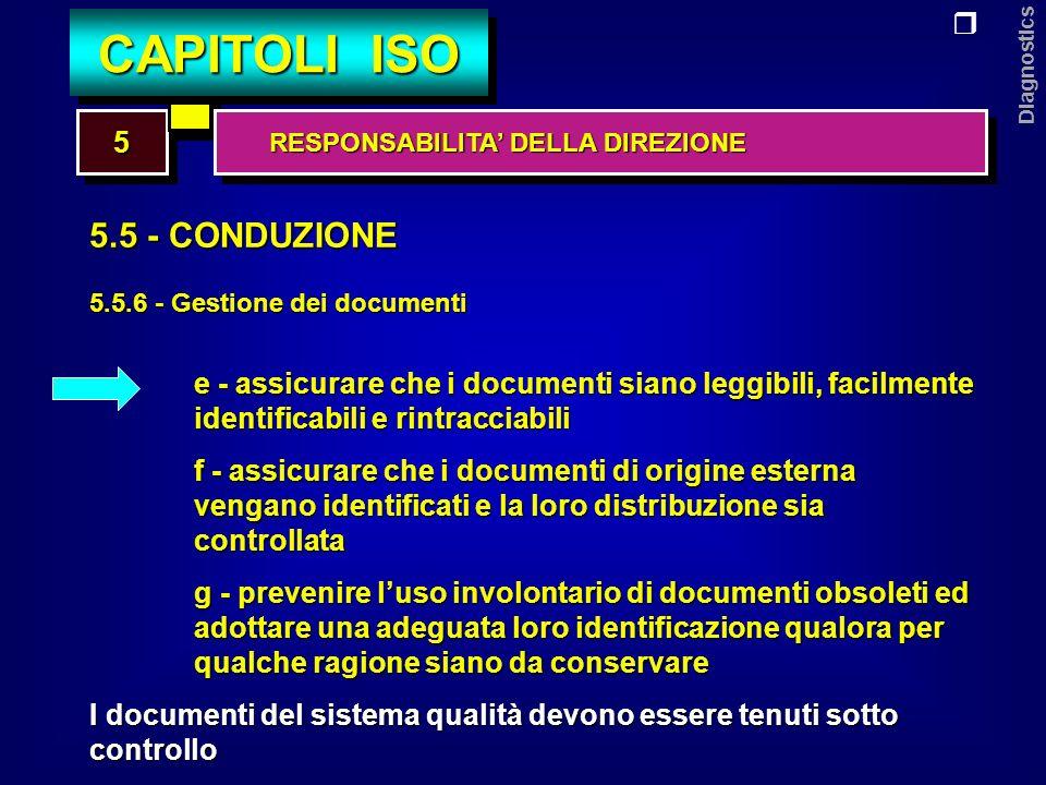 Diagnostics 5.5 - CONDUZIONE 5.5.6 - Gestione dei documenti e - assicurare che i documenti siano leggibili, facilmente identificabili e rintracciabili f - assicurare che i documenti di origine esterna vengano identificati e la loro distribuzione sia controllata g - prevenire luso involontario di documenti obsoleti ed adottare una adeguata loro identificazione qualora per qualche ragione siano da conservare I documenti del sistema qualità devono essere tenuti sotto controllo 55 CAPITOLI ISO RESPONSABILITA DELLA DIREZIONE RESPONSABILITA DELLA DIREZIONE
