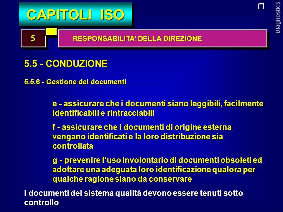 Diagnostics 5.5 - CONDUZIONE 5.5.7 - Gestione dei documenti di registrazione della qualità Deve essere predisposta una procedura documentata per lidentificazione, larchiviazione, la reperibilità, la protezione, la definizione della durata di conservazione, la destinazione finale dei documenti di registrazione della qualità.
