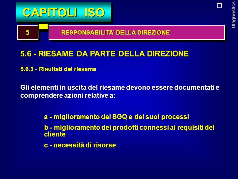 Diagnostics 6.1 - MESSA A DISPOSIZIONE DELLE RISORSE 6.2 - RISORSE UMANE 6.3 - INFRASTRUTTURE 6.4 - AMBIENTE DI LAVORO 66 CAPITOLI ISO GESTIONE DELLE RISORSE GESTIONE DELLE RISORSE