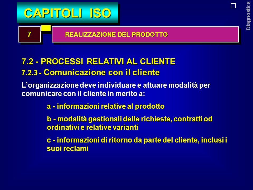 Diagnostics 7.3 - PROGETTAZIONE E/O SVILUPPO 7.3.1 - Pianificazione della progettazione e/o sviluppo Lorganizzazione deve pianificare e tenere sotto controllo la progettazione e/o lo sviluppo del prodotto.