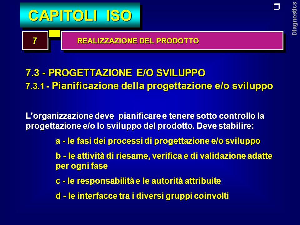 Diagnostics 7.3 - PROGETTAZIONE E/O SVILUPPO 7.3.2 - Elementi in ingresso alla progettazione e/o sviluppo sviluppo I requisiti in ingresso per i prodotti devono essere individuati, documentati, e devono comprendere: a - i requisiti funzionali e prestazionali b - i requisiti legali e regolamentati c - le informazioni da esperienze similari pregresse d - ogni altro requisito essenziale per la progettazione e/o sviluppo 77 CAPITOLI ISO REALIZZAZIONE DEL PRODOTTO REALIZZAZIONE DEL PRODOTTO