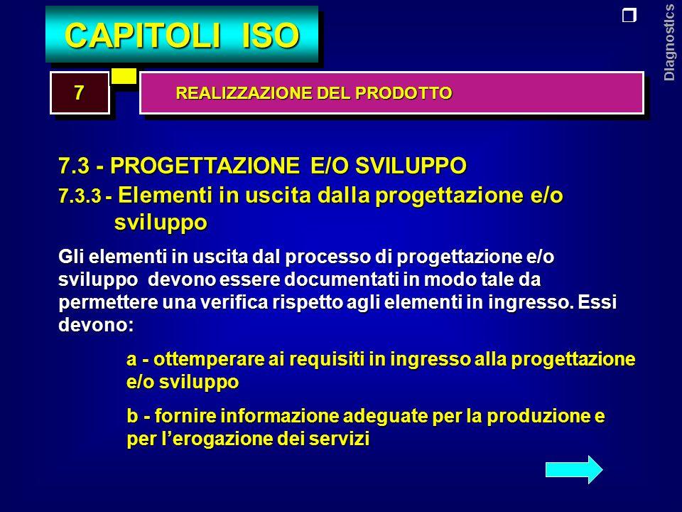 Diagnostics 7.3 - PROGETTAZIONE E/O SVILUPPO 7.3.3 - Elementi in uscita dalla progettazione e/o sviluppo sviluppo c - contenere o richiamare i criteri di accettabilità dei prodotti d - precisare le caratteristiche dei prodotti che sono essenziali per la loro sicura ed adeguata utilizzazione e - essere approvati prima del loro rilascio 77 CAPITOLI ISO REALIZZAZIONE DEL PRODOTTO REALIZZAZIONE DEL PRODOTTO