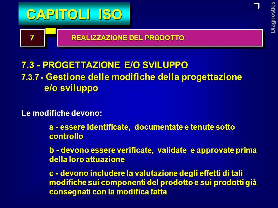 Diagnostics 7.4 - APPROVVIGIONAMENTO 7.4.1 - Gestione dellapprovvigionamento Lorganizzazione deve: a - assicurare che i prodotti approvvigionati corrispondano ai requisiti richiesti b - stabilire i criteri per la periodica valutazione e selezione dei fornitori c - registrare i risultati delle valutazioni e le conseguenti azioni 77 CAPITOLI ISO REALIZZAZIONE DEL PRODOTTO REALIZZAZIONE DEL PRODOTTO