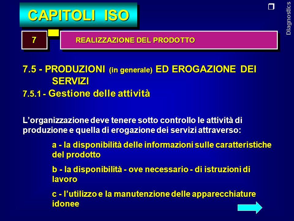 Diagnostics 7.5 - PRODUZIONI (in generale) ED EROGAZIONE DEI SERVIZI 7.5.1 - Gestione delle attività d - la disponibilità e lutilizzazione di dispositivi per il monitoraggio delle attività e - lattuazione di adeguate attività di monitoraggio f - lutilizzo di adeguati processi per lattività di rilascio, consegna e assistenza post-vendita 77 CAPITOLI ISO REALIZZAZIONE DEL PRODOTTO REALIZZAZIONE DEL PRODOTTO