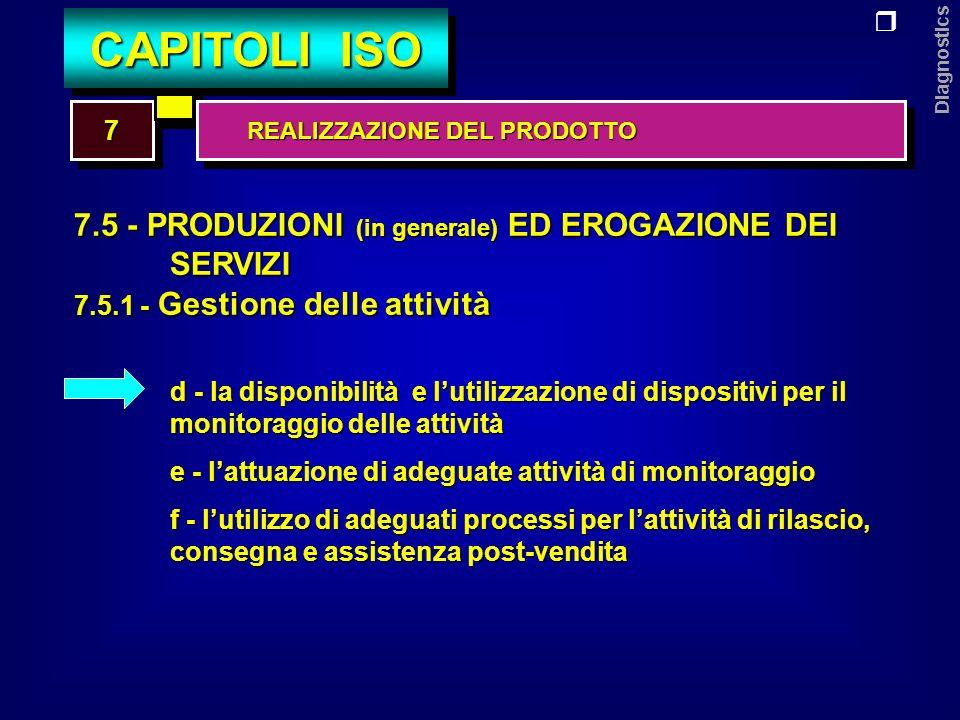Diagnostics 7.5 - PRODUZIONI (in generale) ED EROGAZIONE DEI SERVIZI 7.5.2 - Identificazione e rintracciabilità Lorganizzazione deve: a - identificare i prodotti con mezzi adeguati lungo tutte le fasi della produzione e/o dellerogazione di servizi b - identificare lo stato di avanzamento dei prodotti in relazione ai requisiti di misurazione e di monitoraggio c - mantenere il controllo e registrare la univoca identificazione del prodotto 77 CAPITOLI ISO REALIZZAZIONE DEL PRODOTTO REALIZZAZIONE DEL PRODOTTO