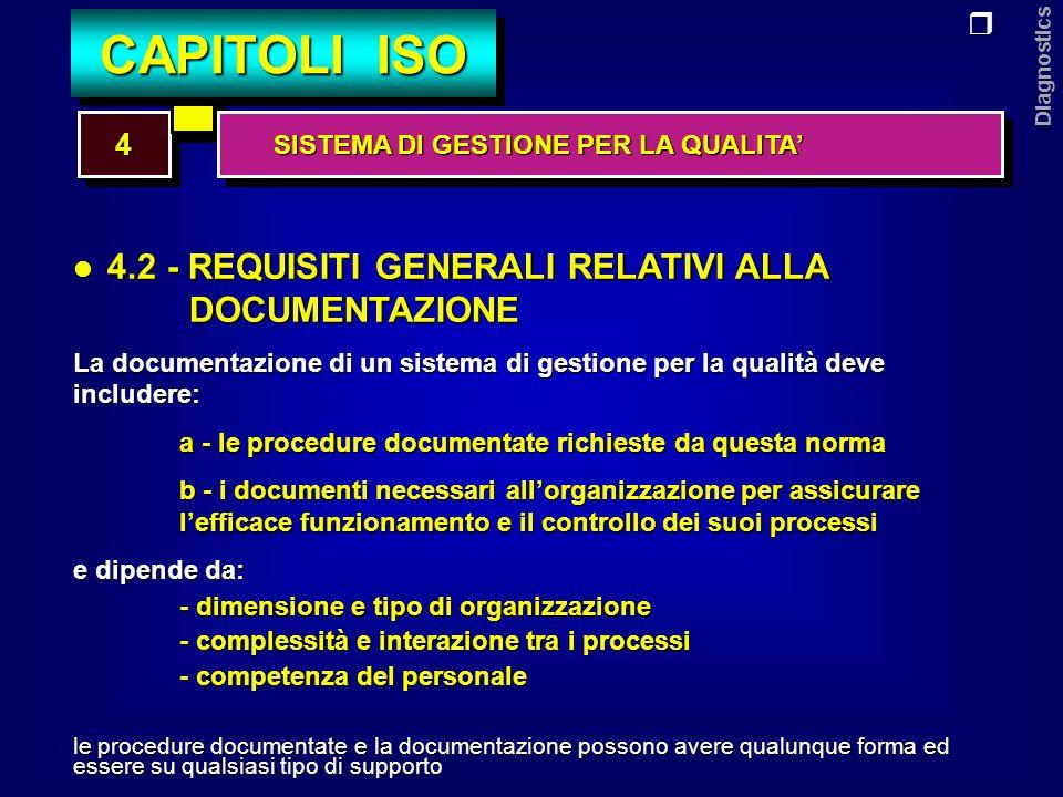 Diagnostics 5.1 - IMPEGNO DELLA DIREZIONE 5.2 - ATTENZIONE AL CLIENTE 5.3 - POLITICA DELLA QUALITA 5.4 - PIANIFICAZIONE 5.5 - CONDUZIONE 5.6 - RIESAME DA PARTE DELLA DIREZIONE 55 CAPITOLI ISO RESPONSABILITA DELLA DIREZIONE RESPONSABILITA DELLA DIREZIONE