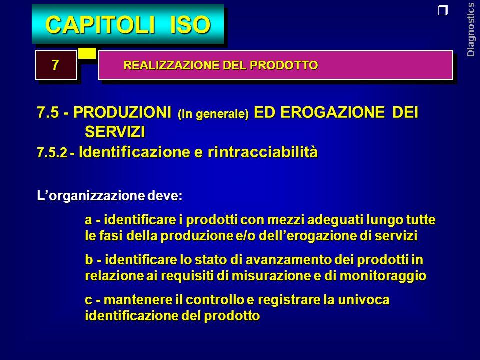Diagnostics 7.5 - PRODUZIONI (in generale) ED EROGAZIONE DEI SERVIZI 7.5.3 - Proprietà dei clienti Lorganizzazione deve aver cura delle proprietà dei clienti quando esse sono sotto il controllo o vengono utilizzate dallorganizzazione, assicurando: a - lidentificazione b - la verifica c - la protezione d - la manutenzione La proprietà del cliente può comprendere anche la proprietà intellettuale, come ad esempio le informazioni fornite in via riservata 77 CAPITOLI ISO REALIZZAZIONE DEL PRODOTTO REALIZZAZIONE DEL PRODOTTO