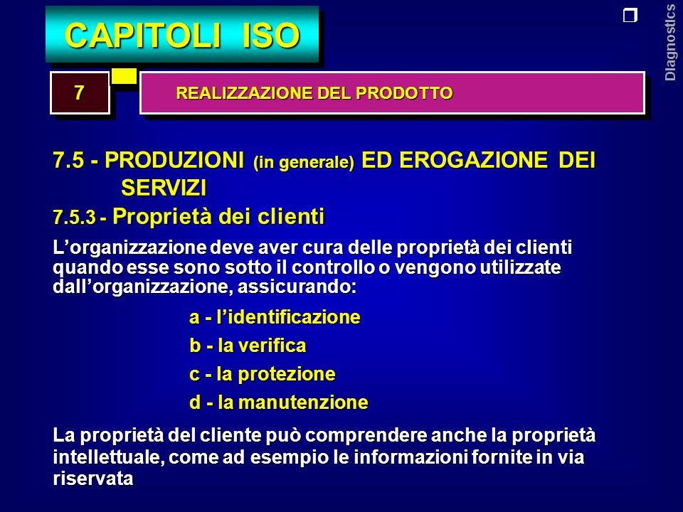 Diagnostics 7.5 - PRODUZIONI (in generale) ED EROGAZIONE DEI SERVIZI 7.5.4 - Conservazione dei prodotti Lorganizzazione deve conservare la conformità dei prodotti ai requisiti del cliente durante le lavorazioni fino alla consegna alla destinazione stabilita, relativamente a: IDENTIFICAZIONEMOVIMENTAZIONEIMBALLAGGIOIMMAGAZZINAMENTO PROTEZIONE DEI PRODOTTI 77 CAPITOLI ISO REALIZZAZIONE DEL PRODOTTO REALIZZAZIONE DEL PRODOTTO