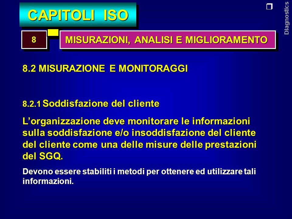 Diagnostics 8.2 MISURAZIONE E MONITORAGGI 8.2.2 Verifiche ispettive interne, audit Lorganizzazione deve: - predisporre il piano delle V.I.