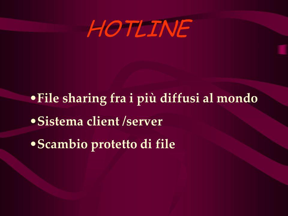 HOTLINE File sharing fra i più diffusi al mondo Sistema client /server Scambio protetto di file