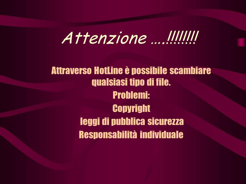 Attenzione ….!!!!!!!. Attraverso HotLine è possibile scambiare qualsiasi tipo di file.