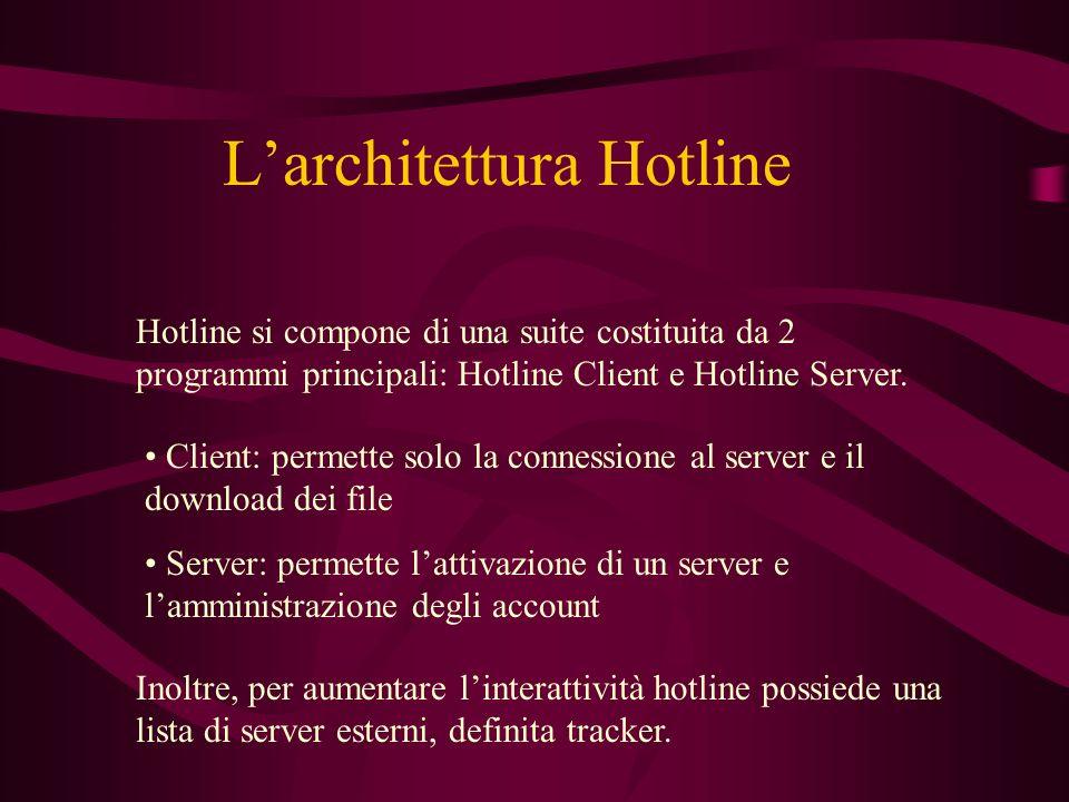 Larchitettura Hotline Hotline si compone di una suite costituita da 2 programmi principali: Hotline Client e Hotline Server.