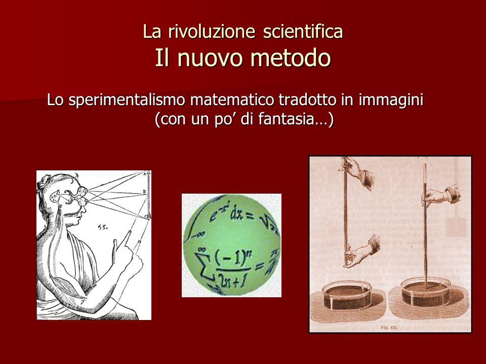 La rivoluzione scientifica Il nuovo metodo Lo sperimentalismo matematico tradotto in immagini (con un po di fantasia…)