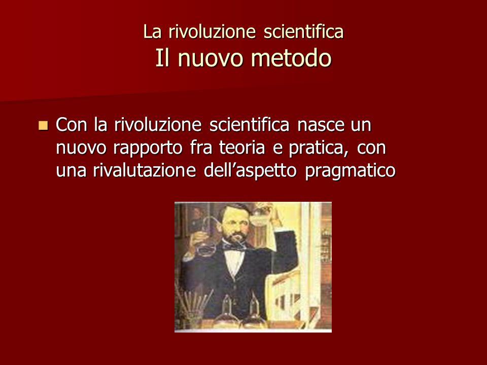 La rivoluzione scientifica Il nuovo metodo Con la rivoluzione scientifica nasce un nuovo rapporto fra teoria e pratica, con una rivalutazione dellaspe