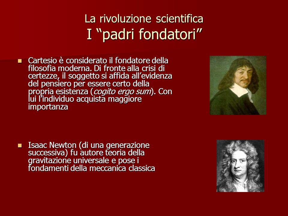 La rivoluzione scientifica I padri fondatori Cartesio è considerato il fondatore della filosofia moderna. Di fronte alla crisi di certezze, il soggett