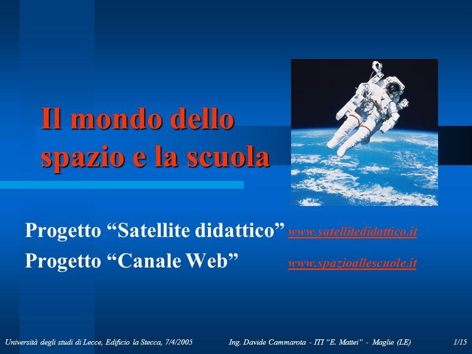 1/15Università degli studi di Lecce, Edificio la Stecca, 7/4/2005 Ing. Davide Cammarota - ITI E. Mattei - Maglie (LE) Progetto Satellite didattico Pro