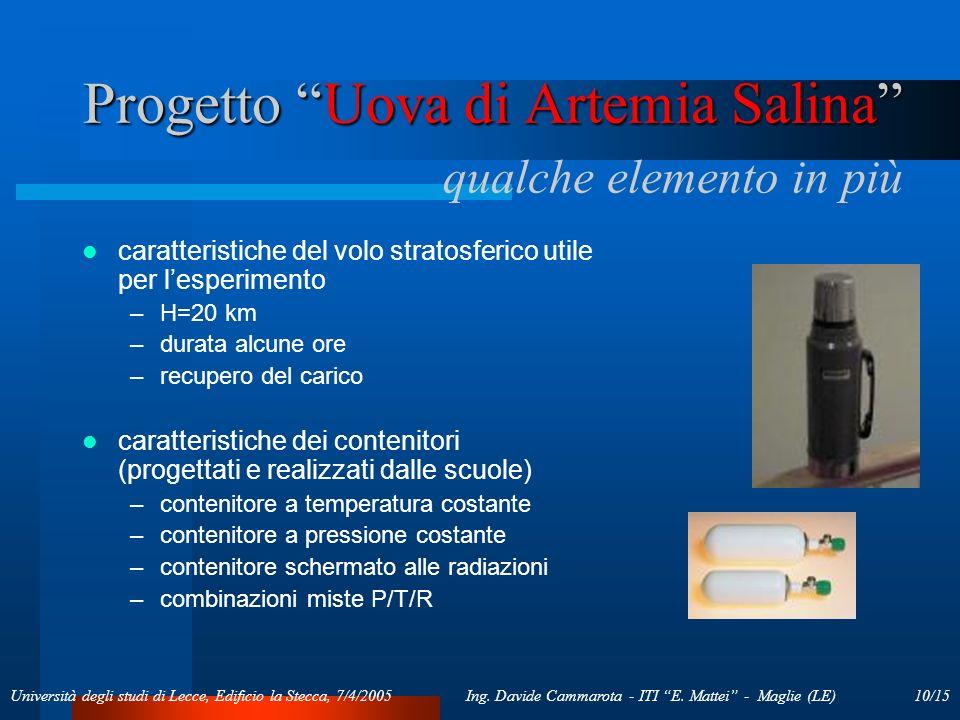 10/15Ing. Davide Cammarota - ITI E. Mattei - Maglie (LE)Università degli studi di Lecce, Edificio la Stecca, 7/4/2005 Progetto Uova di Artemia Salina