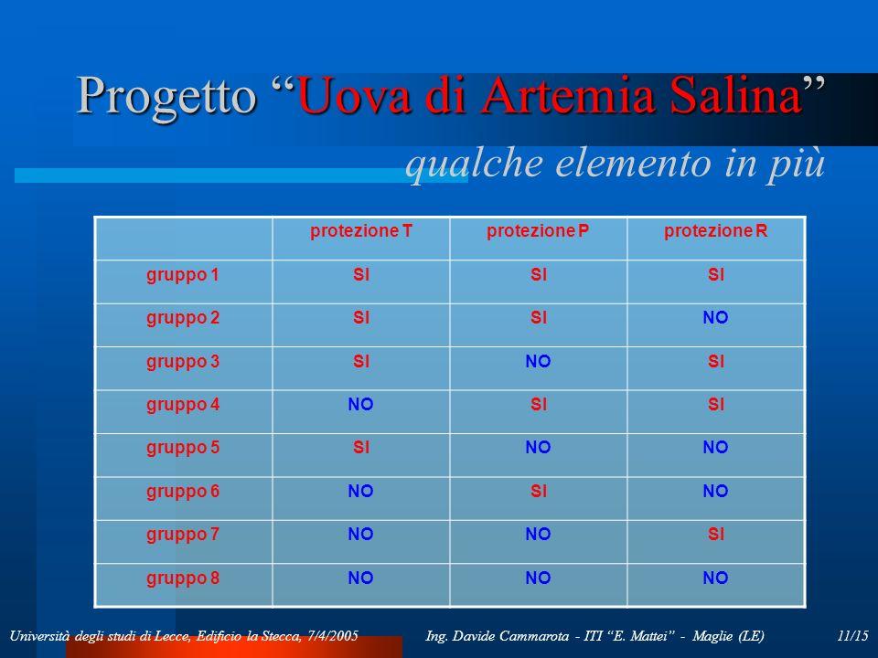 11/15Ing. Davide Cammarota - ITI E. Mattei - Maglie (LE)Università degli studi di Lecce, Edificio la Stecca, 7/4/2005 Progetto Uova di Artemia Salina