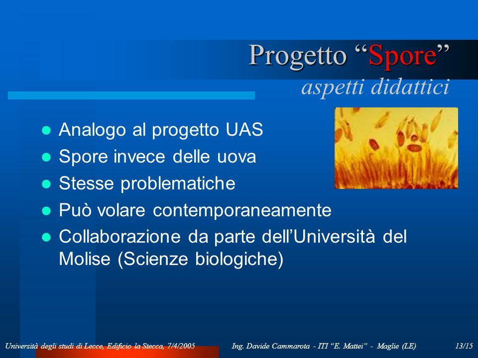 13/15Ing. Davide Cammarota - ITI E. Mattei - Maglie (LE)Università degli studi di Lecce, Edificio la Stecca, 7/4/2005 Progetto Spore Progetto Spore as