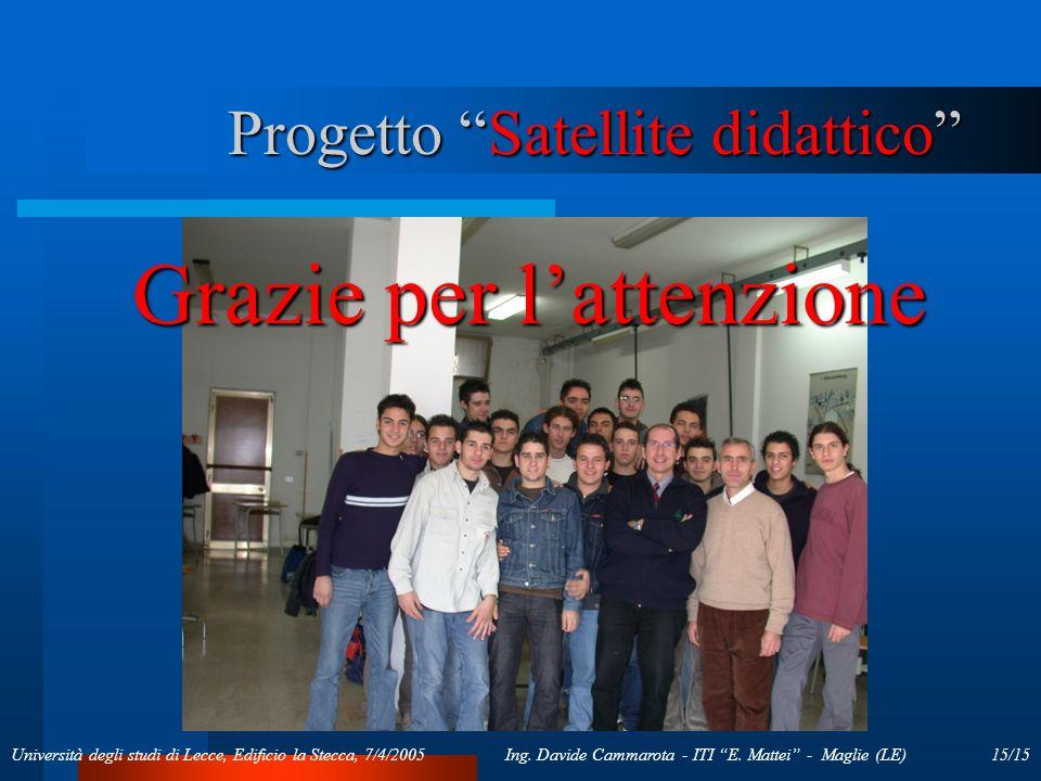 15/15Ing. Davide Cammarota - ITI E. Mattei - Maglie (LE)Università degli studi di Lecce, Edificio la Stecca, 7/4/2005 Progetto Satellite didattico Gra