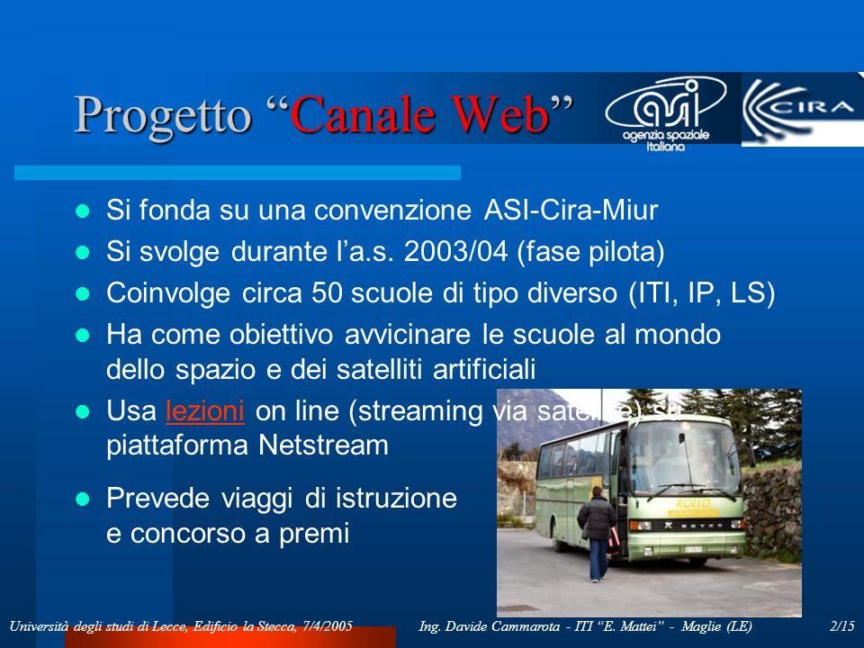 2/15Ing. Davide Cammarota - ITI E. Mattei - Maglie (LE)Università degli studi di Lecce, Edificio la Stecca, 7/4/2005 Progetto Canale Web Si fonda su u