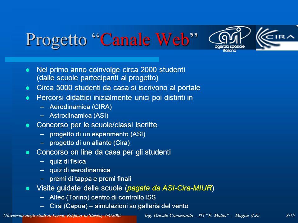 3/15Ing. Davide Cammarota - ITI E. Mattei - Maglie (LE)Università degli studi di Lecce, Edificio la Stecca, 7/4/2005 Progetto Canale Web Nel primo ann