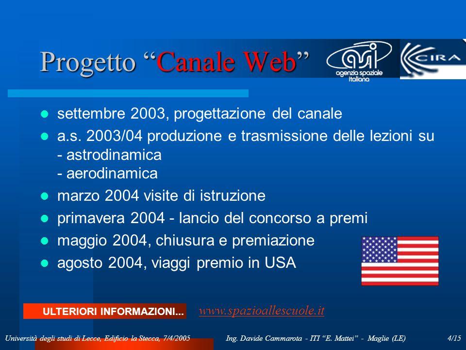 4/15Ing. Davide Cammarota - ITI E. Mattei - Maglie (LE)Università degli studi di Lecce, Edificio la Stecca, 7/4/2005 Progetto Canale Web settembre 200