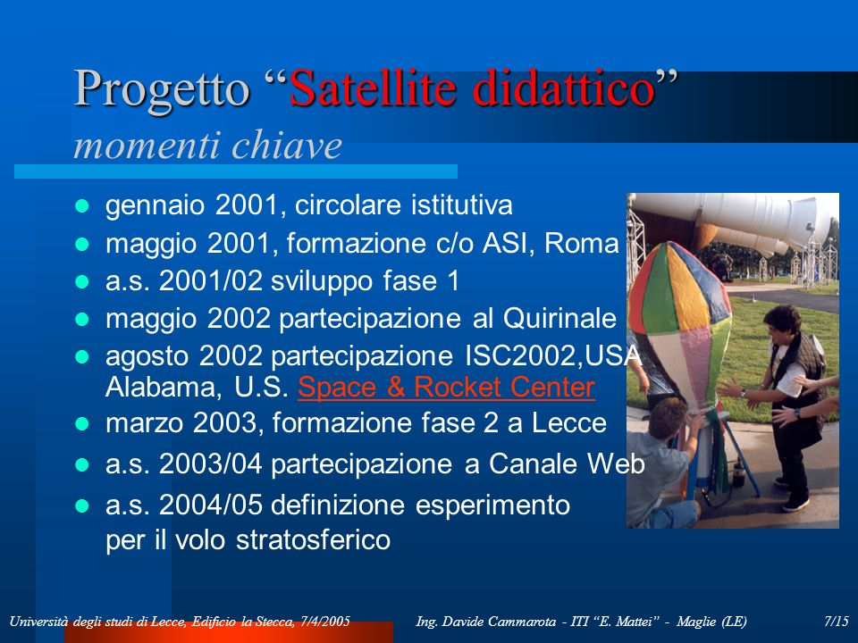 7/15Ing. Davide Cammarota - ITI E. Mattei - Maglie (LE)Università degli studi di Lecce, Edificio la Stecca, 7/4/2005 Progetto Satellite didattico Prog