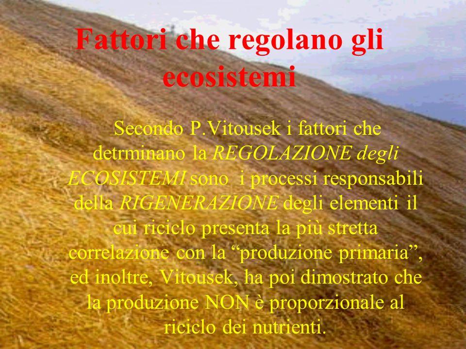 Fattori che regolano gli ecosistemi Secondo P.Vitousek i fattori che detrminano la REGOLAZIONE degli ECOSISTEMI sono i processi responsabili della RIG