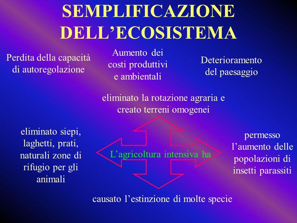 SEMPLIFICAZIONE DELLECOSISTEMA Perdita della capacità di autoregolazione Aumento dei costi produttivi e ambientali Deterioramento del paesaggio elimin