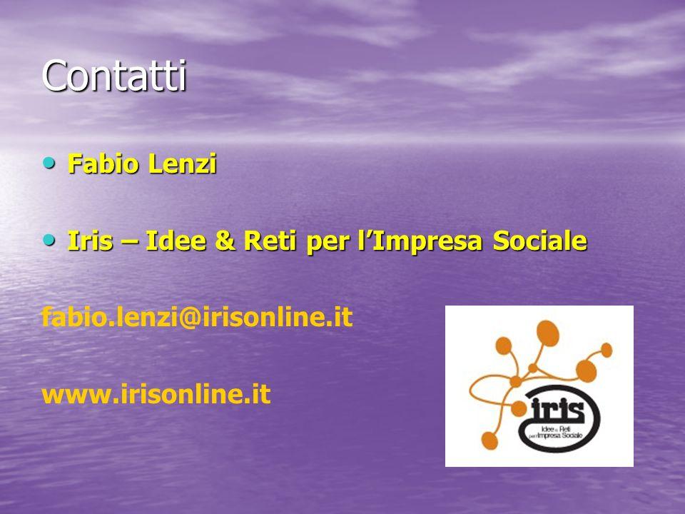 Contatti Fabio Lenzi Fabio Lenzi Iris – Idee & Reti per lImpresa Sociale Iris – Idee & Reti per lImpresa Sociale fabio.lenzi@irisonline.it www.irisonline.it