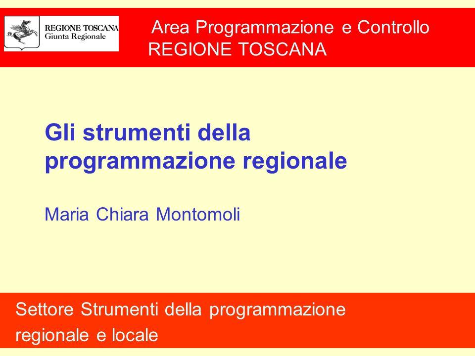 Area Programmazione e Controllo REGIONE TOSCANA Settore Strumenti della programmazione regionale e locale Gli strumenti della programmazione regionale