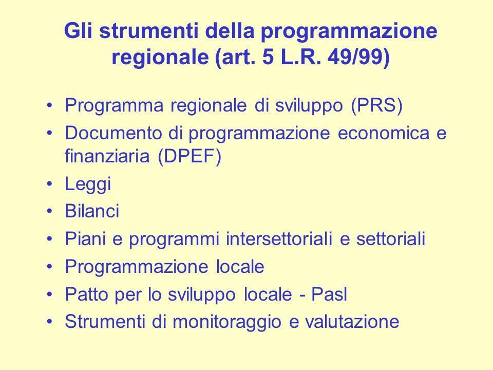 Gli strumenti della programmazione regionale (art. 5 L.R. 49/99) Programma regionale di sviluppo (PRS) Documento di programmazione economica e finanzi