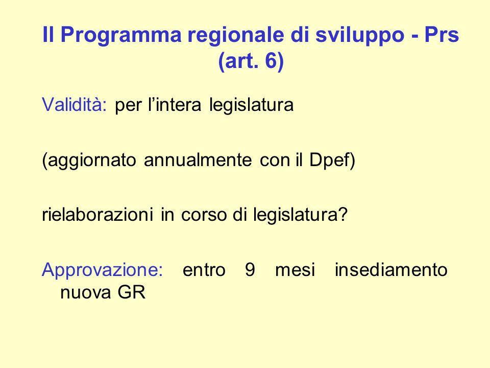 Il Programma regionale di sviluppo - Prs (art. 6) Validità: per lintera legislatura (aggiornato annualmente con il Dpef) rielaborazioni in corso di le