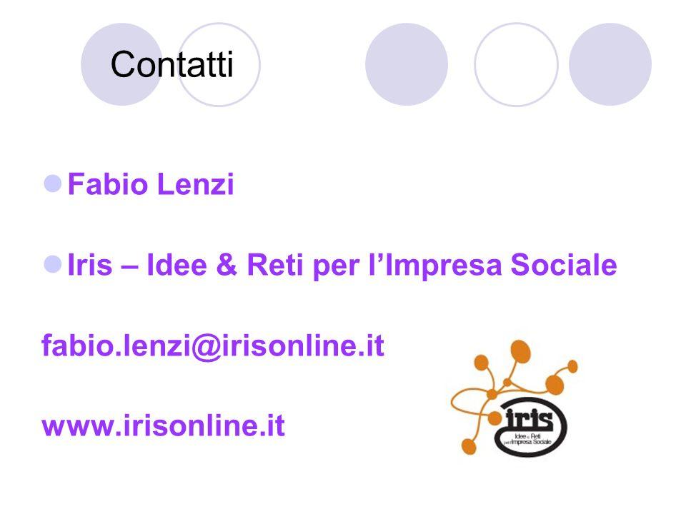 Contatti Fabio Lenzi Iris – Idee & Reti per lImpresa Sociale fabio.lenzi@irisonline.it www.irisonline.it