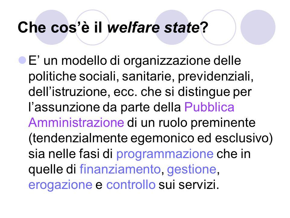 Che cosè il welfare state? E un modello di organizzazione delle politiche sociali, sanitarie, previdenziali, dellistruzione, ecc. che si distingue per