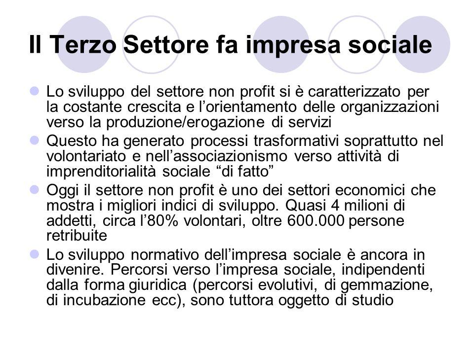 Il Terzo Settore fa impresa sociale Lo sviluppo del settore non profit si è caratterizzato per la costante crescita e lorientamento delle organizzazio
