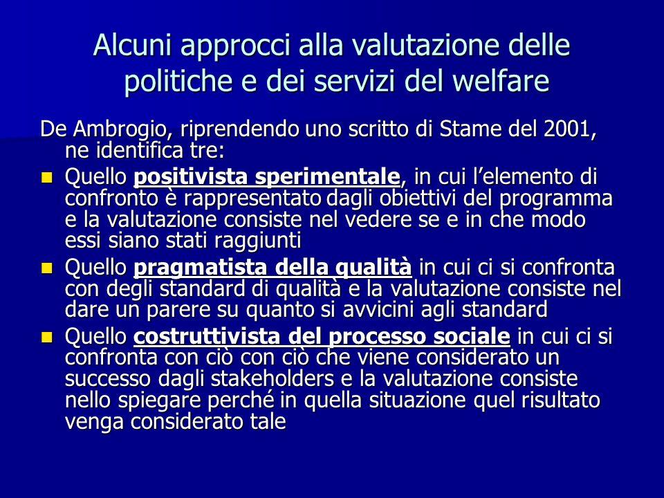 Alcuni approcci alla valutazione delle politiche e dei servizi del welfare De Ambrogio, riprendendo uno scritto di Stame del 2001, ne identifica tre: