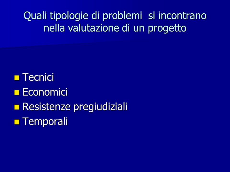 Quali tipologie di problemi si incontrano nella valutazione di un progetto Tecnici Tecnici Economici Economici Resistenze pregiudiziali Resistenze pre