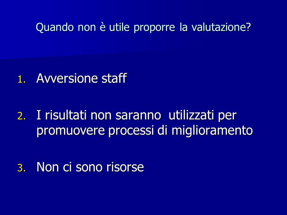 Quando non è utile proporre la valutazione? 1. Avversione staff 2. I risultati non saranno utilizzati per promuovere processi di miglioramento 3. Non