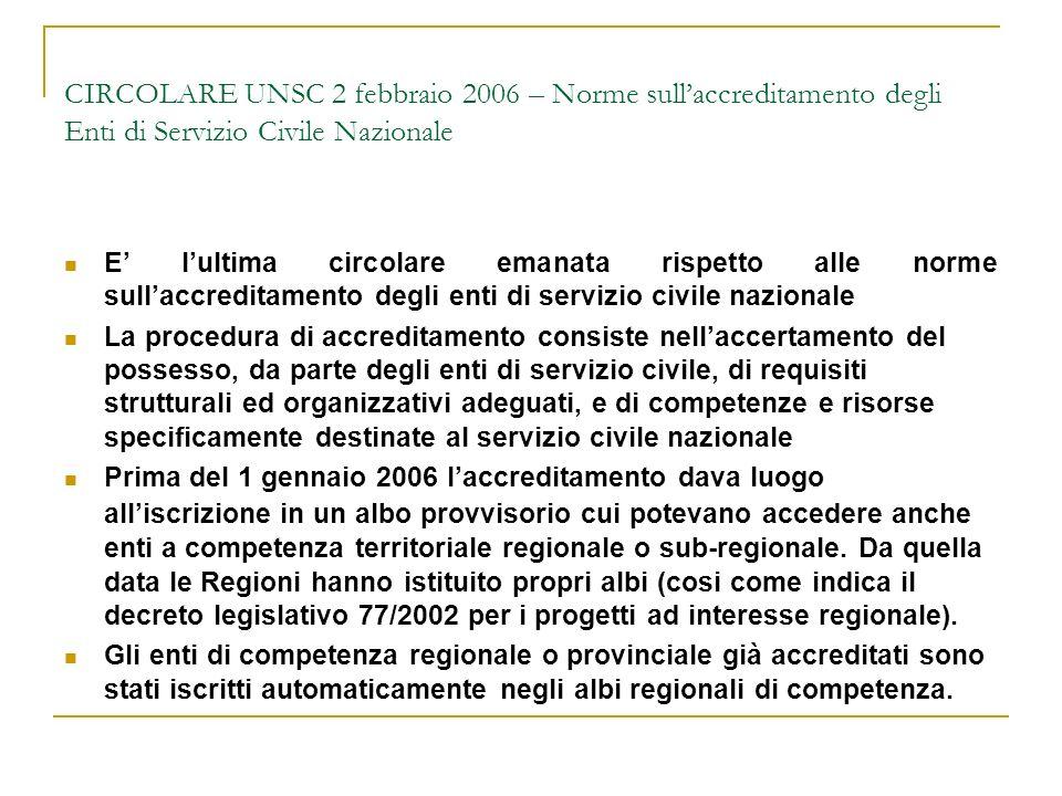 CIRCOLARE UNSC 2 febbraio 2006 – Norme sullaccreditamento degli Enti di Servizio Civile Nazionale E lultima circolare emanata rispetto alle norme sull