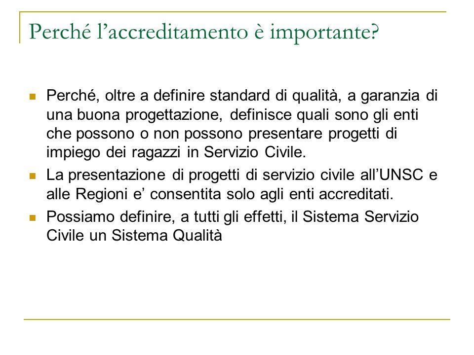 Perché laccreditamento è importante? Perché, oltre a definire standard di qualità, a garanzia di una buona progettazione, definisce quali sono gli ent