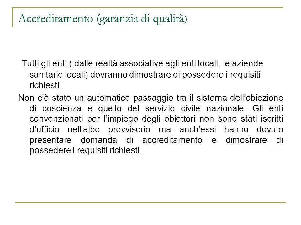 Accreditamento (garanzia di qualità) Tutti gli enti ( dalle realtà associative agli enti locali, le aziende sanitarie locali) dovranno dimostrare di p